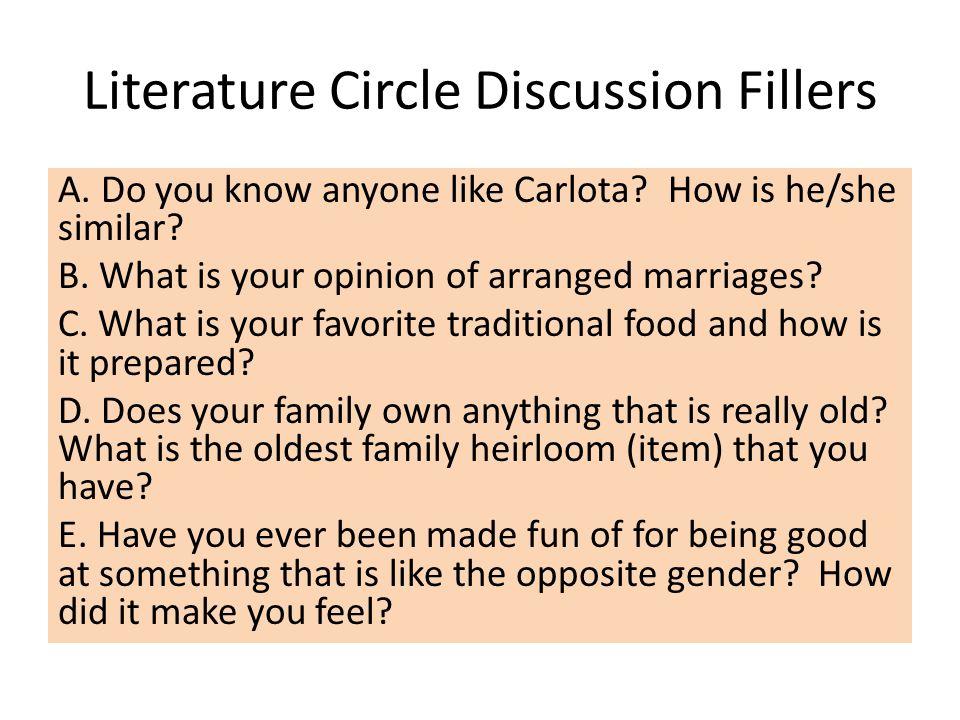 Literature Circle Discussion Fillers