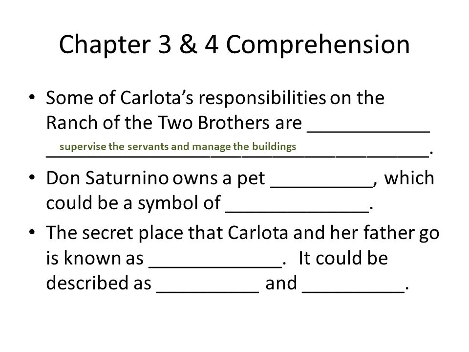 Chapter 3 & 4 Comprehension