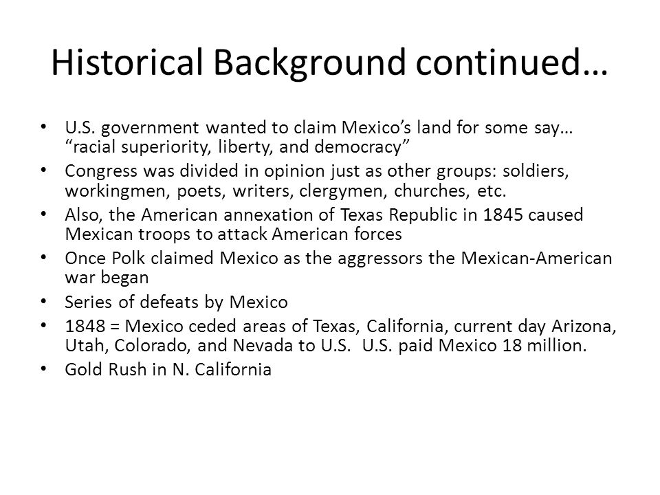 Historical Background continued…