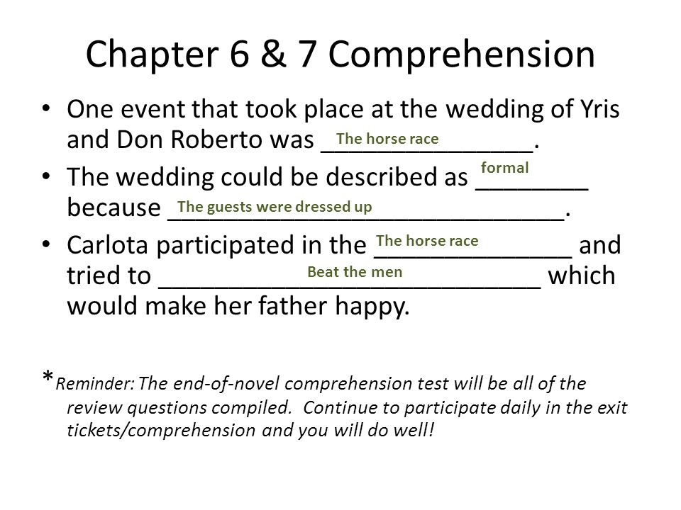 Chapter 6 & 7 Comprehension
