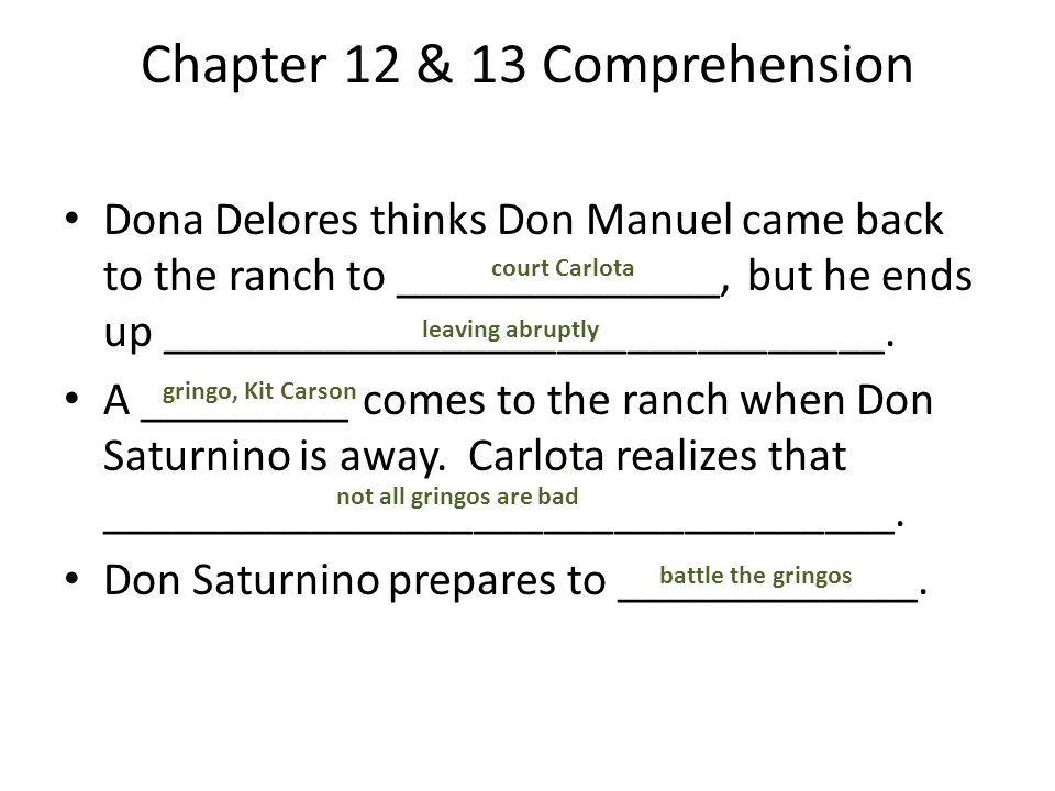 Chapter 12 & 13 Comprehension