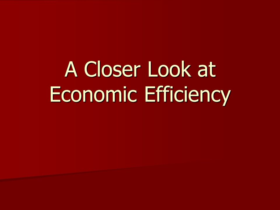 A Closer Look at Economic Efficiency