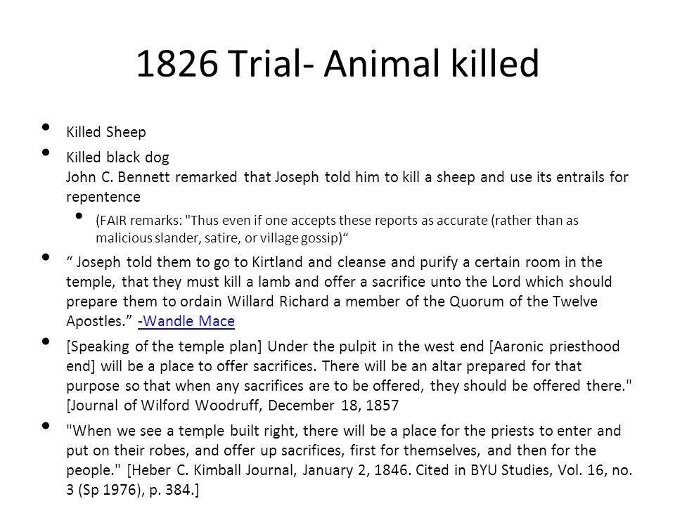 1826 Trial- Animal killed Killed Sheep
