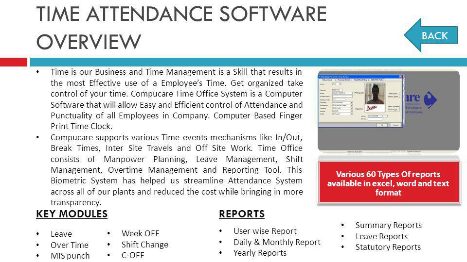 TIME ATTENDANCE SOFTWARE OVERVIEW