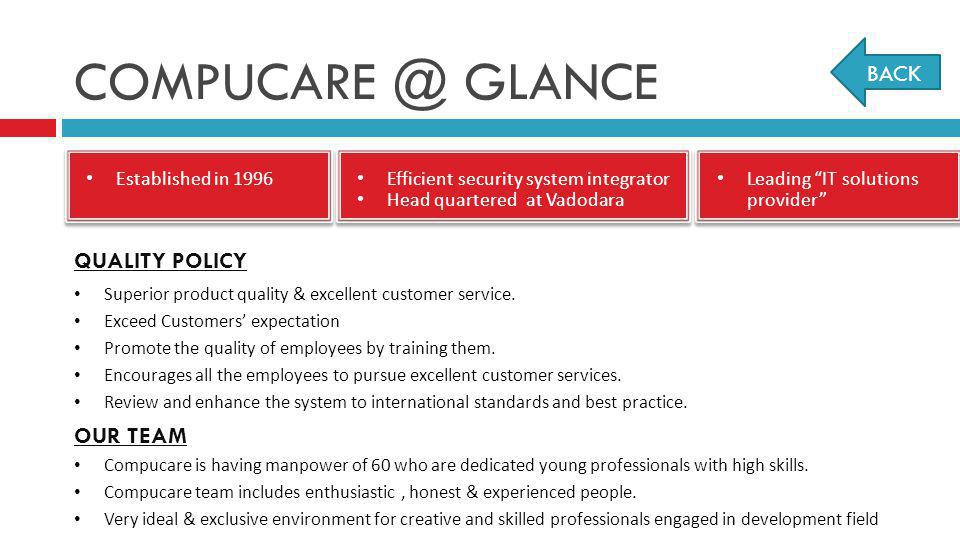 COMPUCARE @ GLANCE BACK QUALITY POLICY OUR TEAM Established in 1996