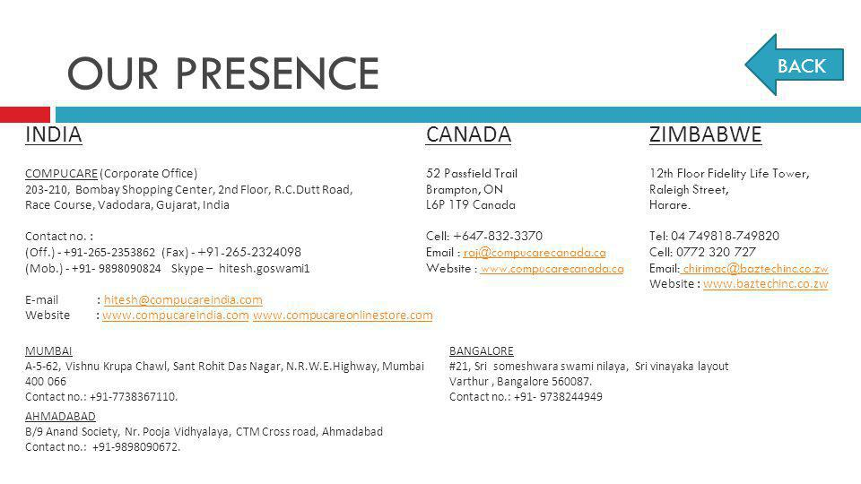 OUR PRESENCE INDIA CANADA ZIMBABWE BACK COMPUCARE (Corporate Office)