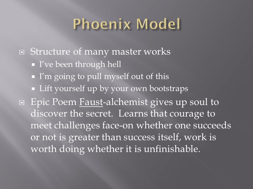 Phoenix Model Structure of many master works
