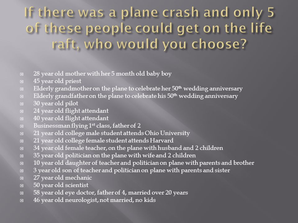If there was a plane crash and only 5 of these people could get on the life raft, who would you choose