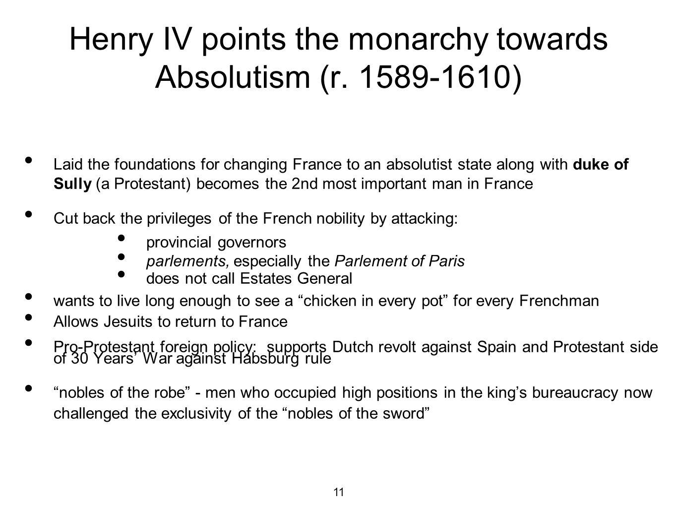 Henry IV points the monarchy towards Absolutism (r. 1589-1610)