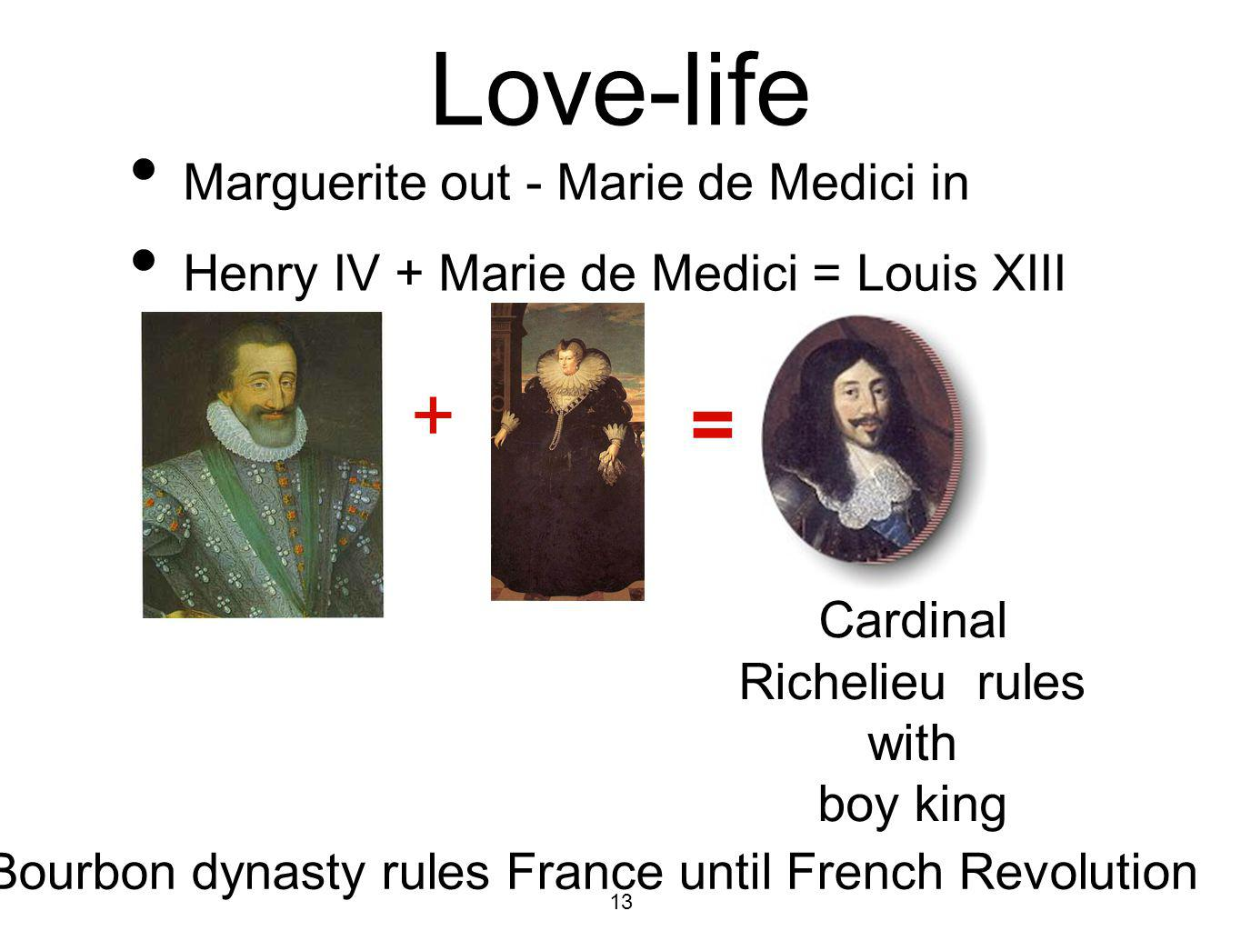 Love-life + = Marguerite out - Marie de Medici in