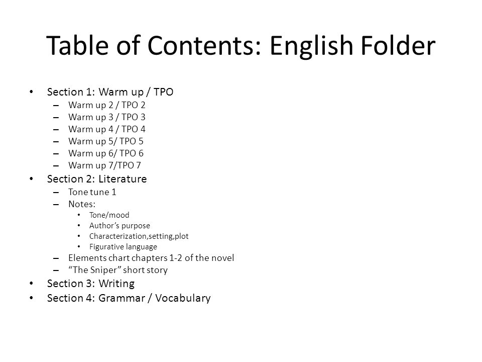 Table of Contents: English Folder