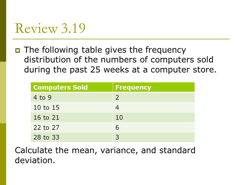 Review 3.19 The following table gives the frequency distribution of the numbers of computers sold during the past 25 weeks at a computer store.