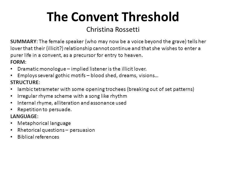 The Convent Threshold Christina Rossetti