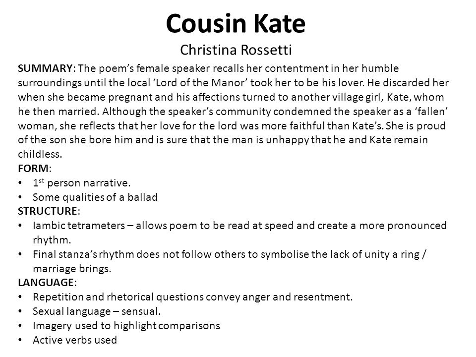 Cousin Kate Christina Rossetti