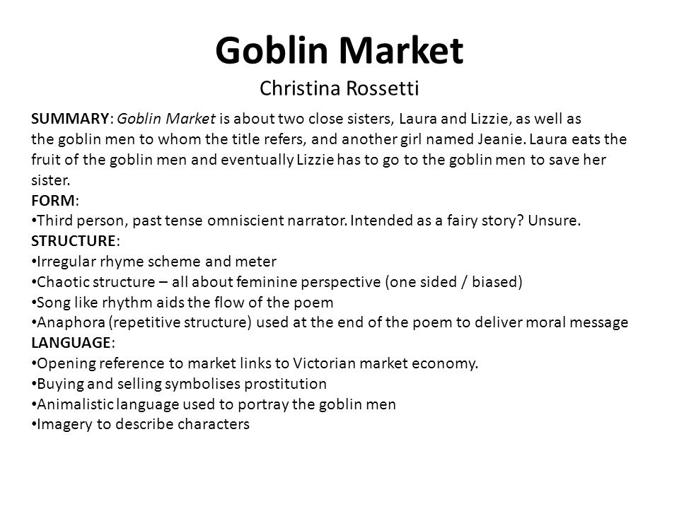 a literary analysis of lesbian love in goblin market by christina rosetti Goblin market (composed in april 1859 and published in 1862) is a narrative poem by christina rossettiin a letter to her publisher, rossetti claimed that the poem, which is interpreted frequently as having features of remarkably sexual imagery, was not.