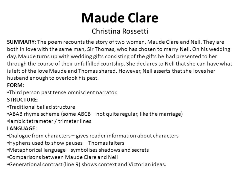 Maude Clare Christina Rossetti