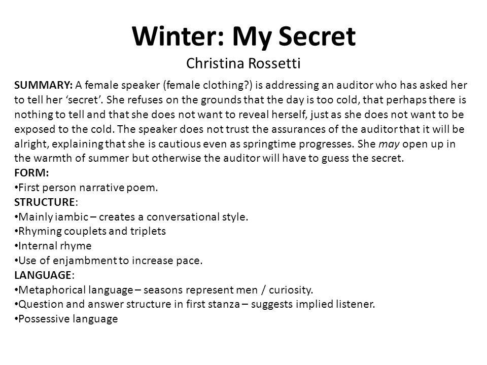 Winter: My Secret Christina Rossetti