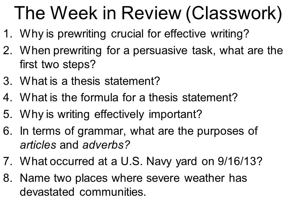 The Week in Review (Classwork)
