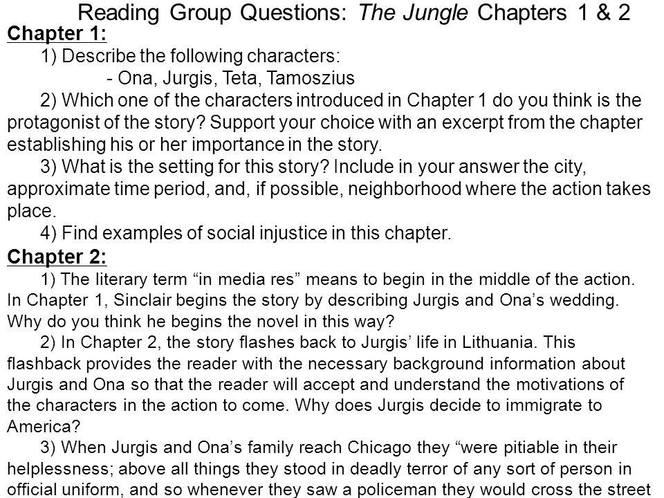 Reading Group Questions: The Jungle Chapters 1 & 2