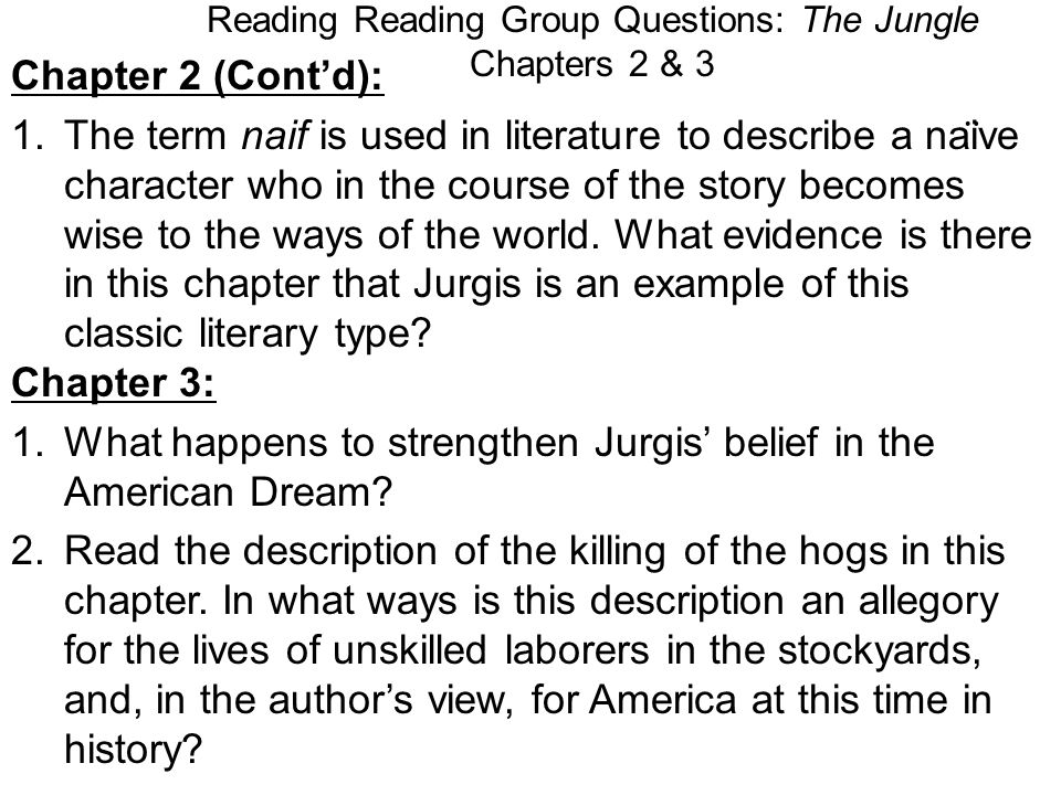 Reading Reading Group Questions: The Jungle Chapters 2 & 3