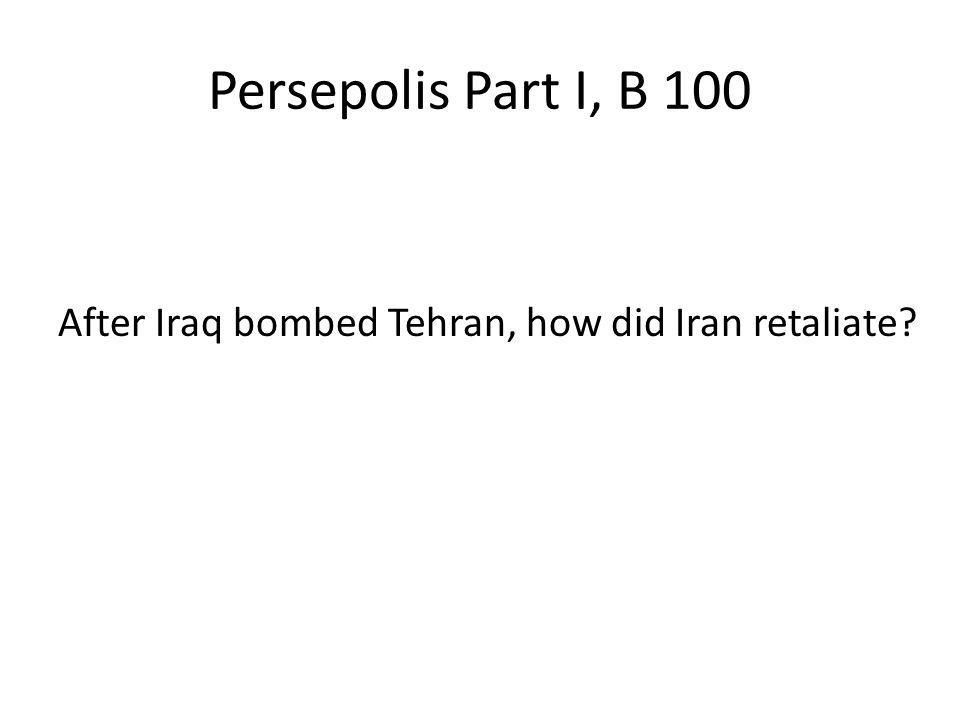 Persepolis Part I, B 100 After Iraq bombed Tehran, how did Iran retaliate