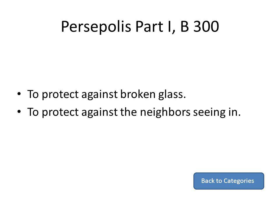 Persepolis Part I, B 300 To protect against broken glass.