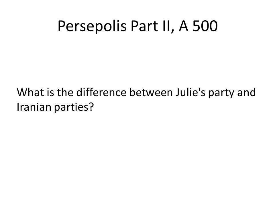 Persepolis Part II, A 500 What is the difference between Julie s party and Iranian parties