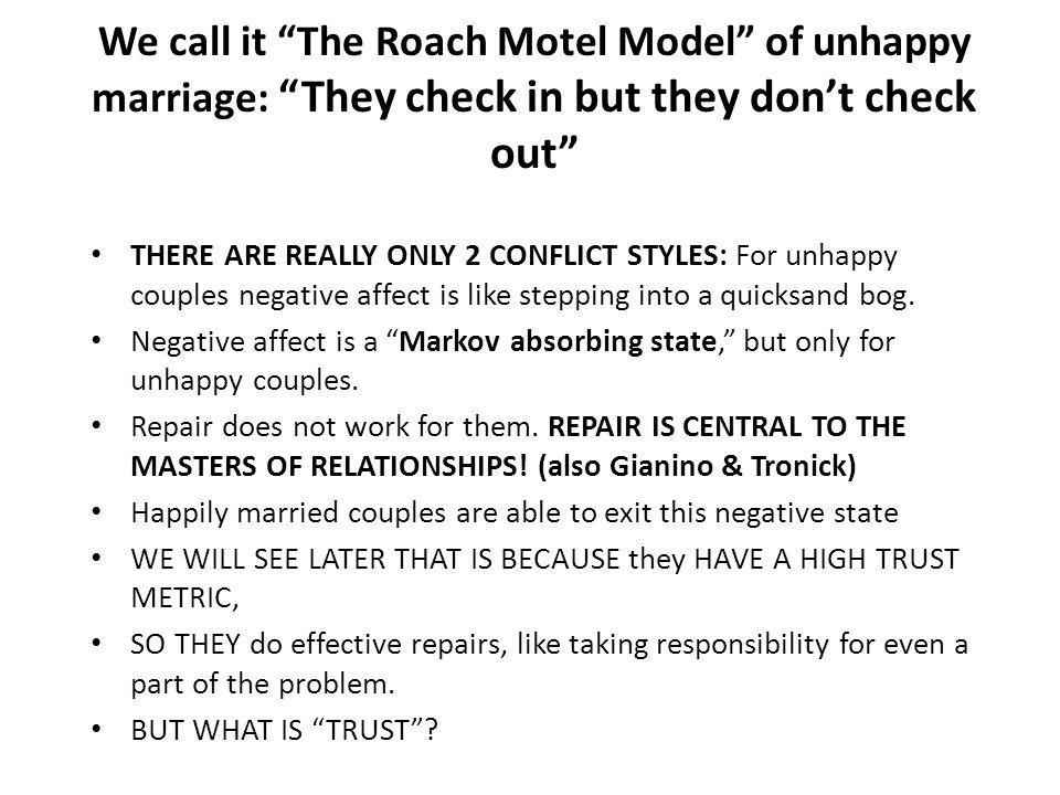 We call it The Roach Motel Model of unhappy marriage: They check in but they don't check out