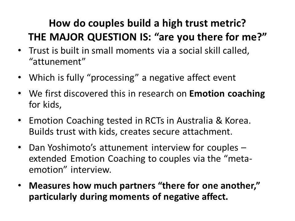 How do couples build a high trust metric