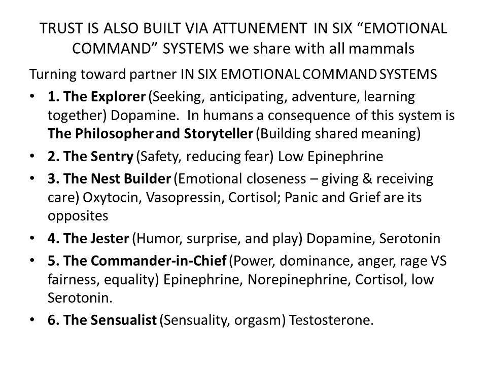 TRUST IS ALSO BUILT VIA ATTUNEMENT IN SIX EMOTIONAL COMMAND SYSTEMS we share with all mammals