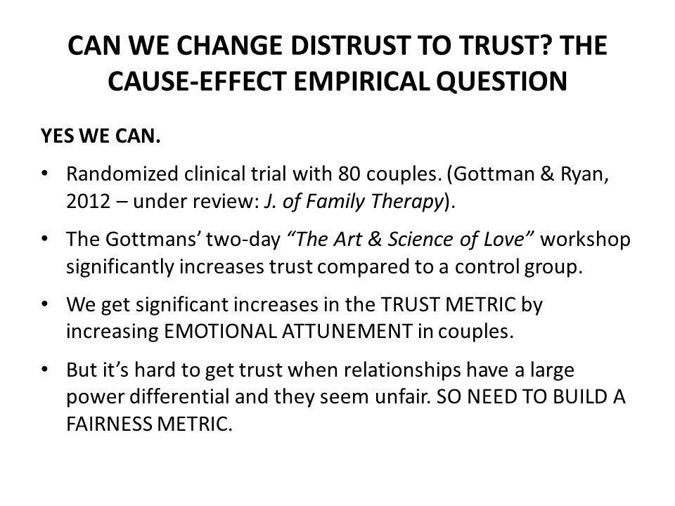 CAN WE CHANGE DISTRUST TO TRUST THE CAUSE-EFFECT EMPIRICAL QUESTION