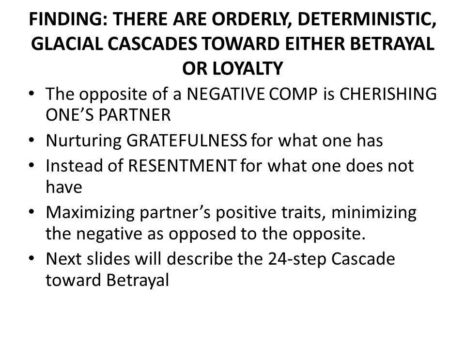 FINDING: THERE ARE ORDERLY, DETERMINISTIC, GLACIAL CASCADES TOWARD EITHER BETRAYAL OR LOYALTY