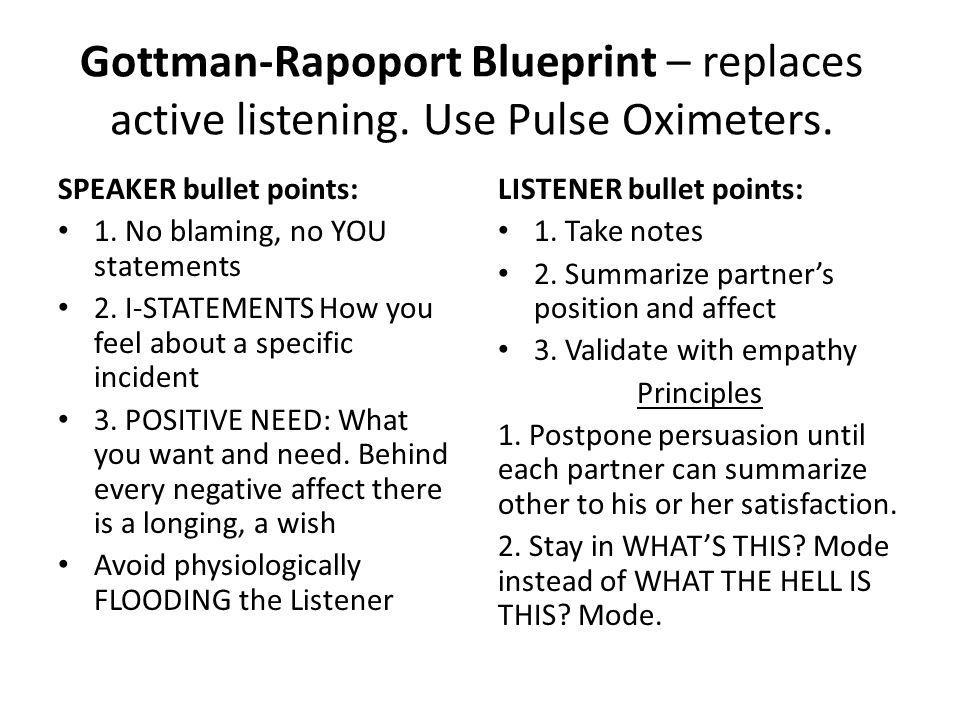 Gottman-Rapoport Blueprint – replaces active listening