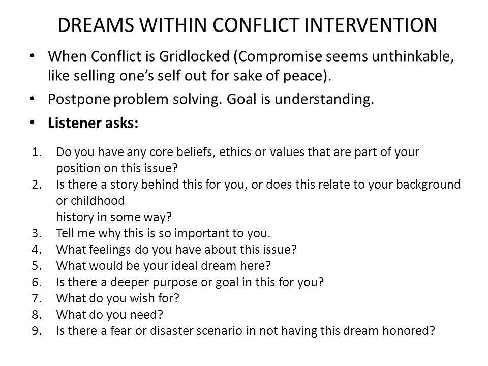 DREAMS WITHIN CONFLICT INTERVENTION