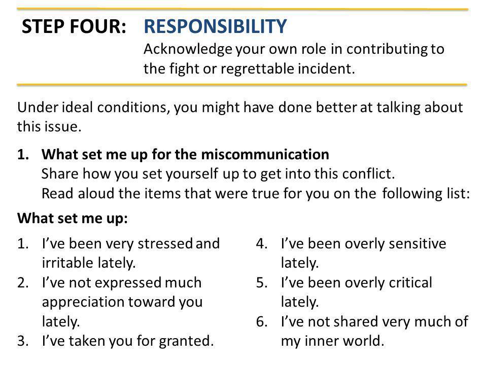 Step Four: Responsibility