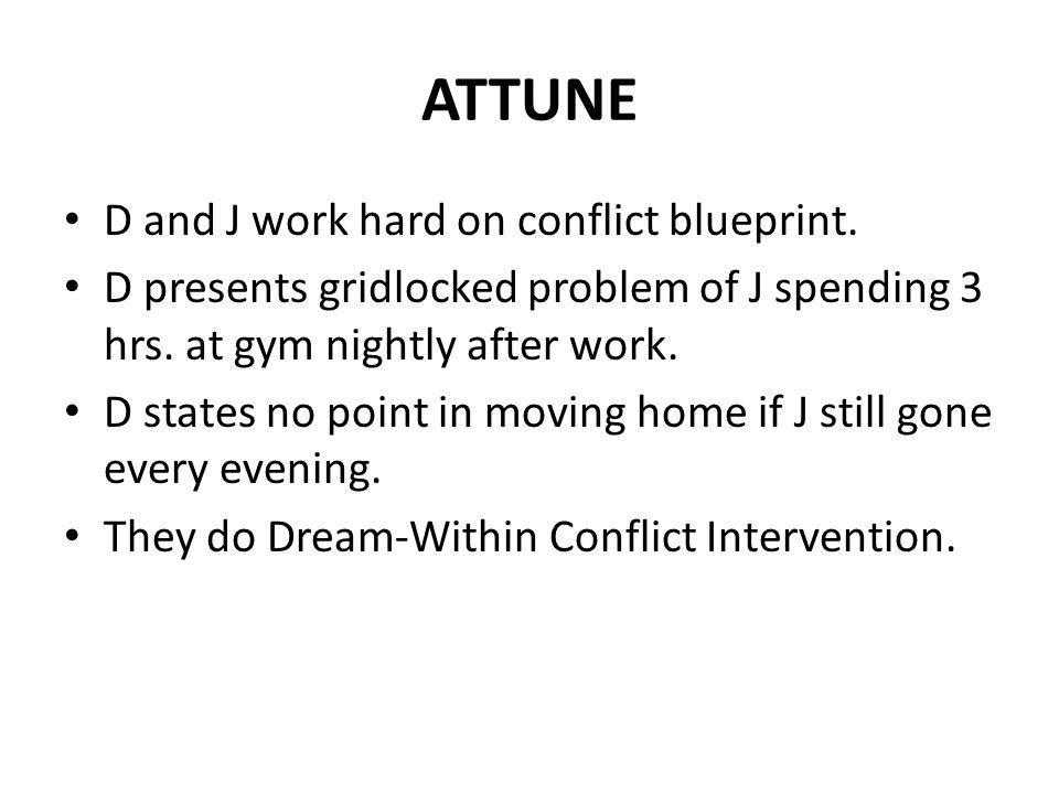 ATTUNE D and J work hard on conflict blueprint.
