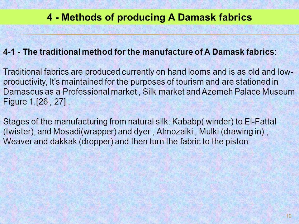 4 - Methods of producing A Damask fabrics