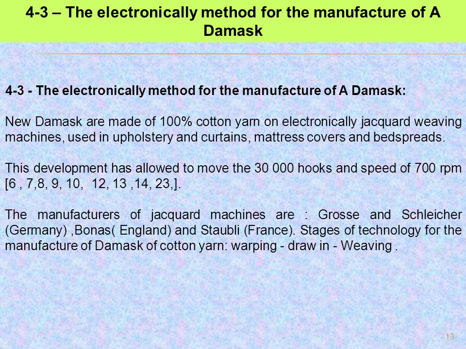 4-3 – The electronically method for the manufacture of A Damask