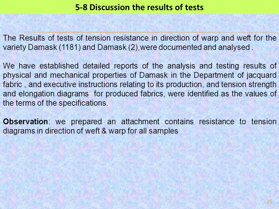 5-8 Discussion the results of tests