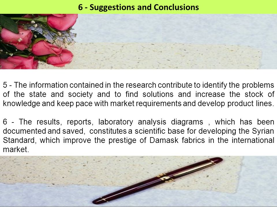 6 - Suggestions and Conclusions