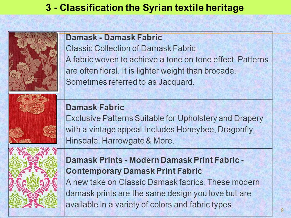 3 - Classification the Syrian textile heritage