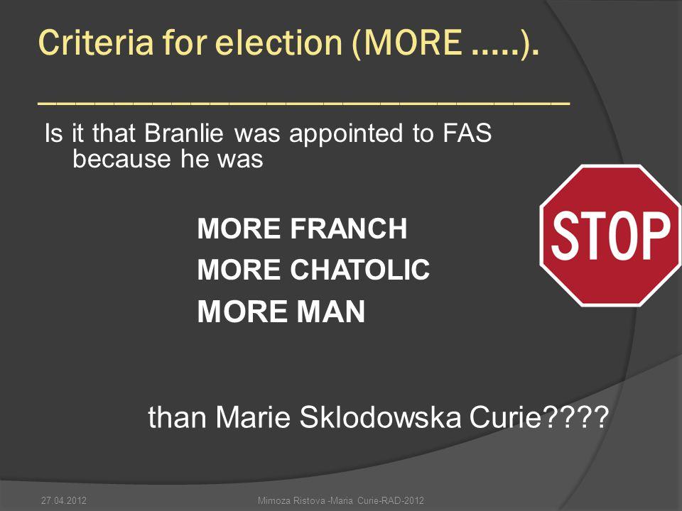 Criteria for election (MORE .....). ____________________________