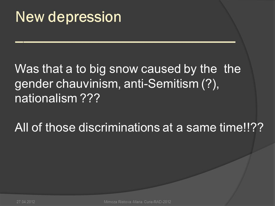 New depression ____________________________