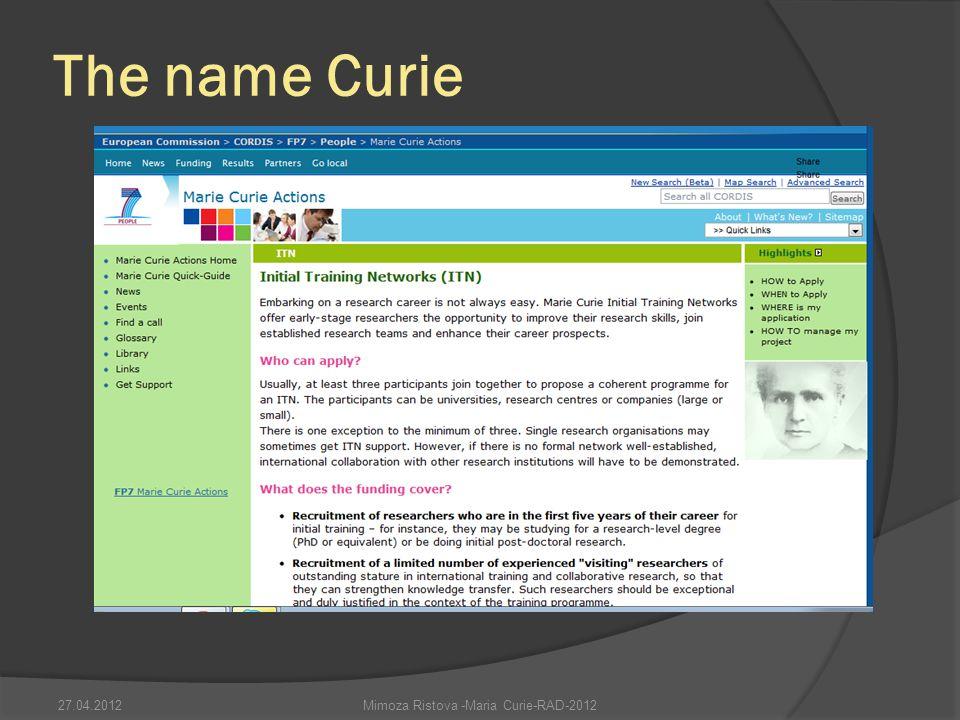 Mimoza Ristova -Maria Curie-RAD-2012