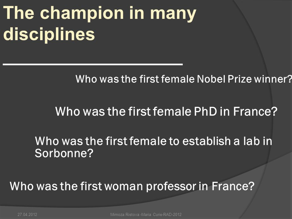 Who was the first female PhD in France