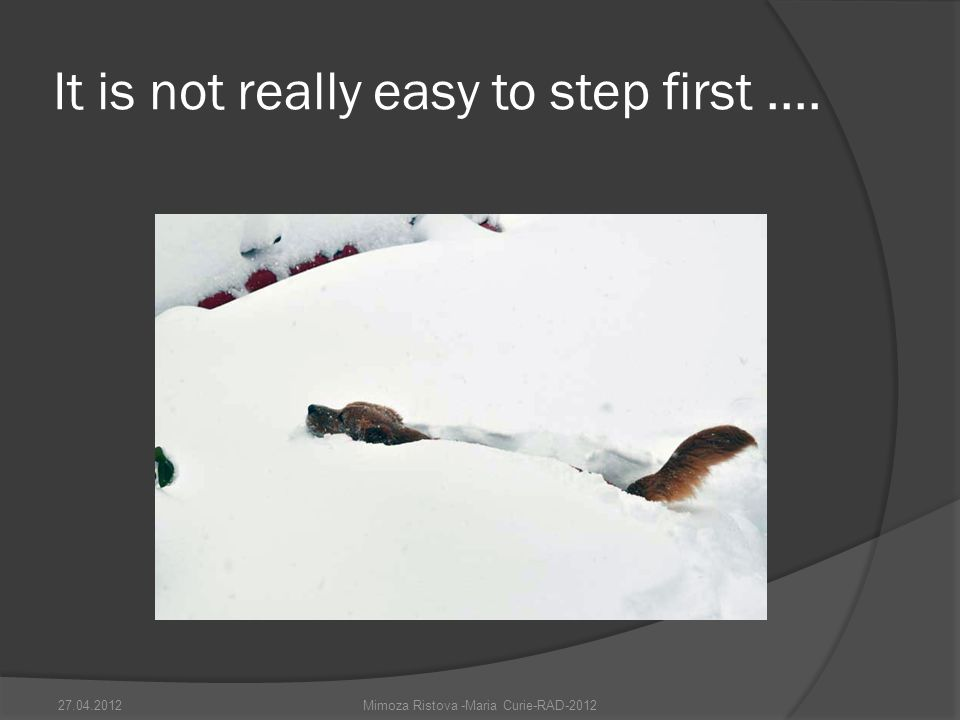 It is not really easy to step first ....
