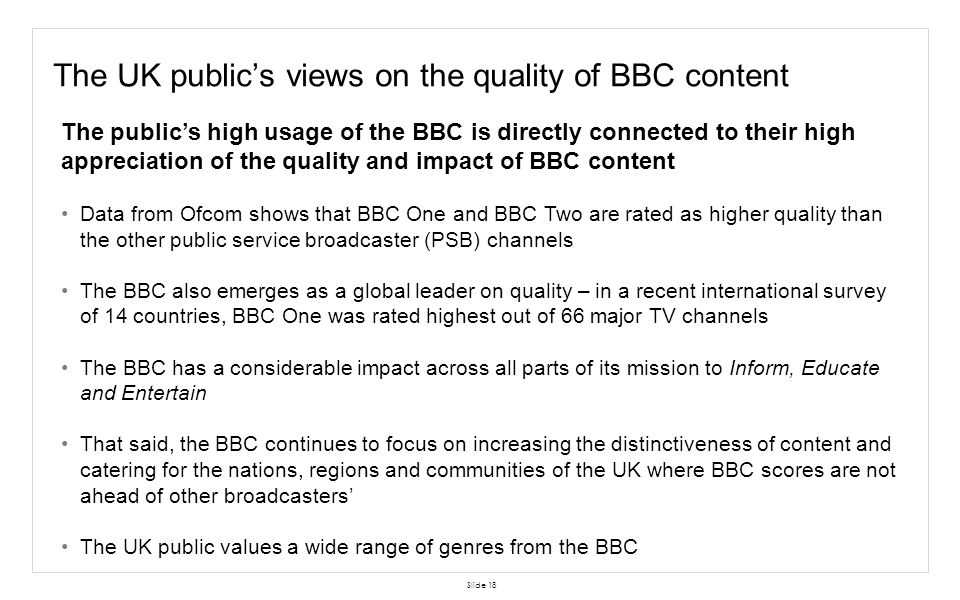 The UK public's views on the quality of BBC content