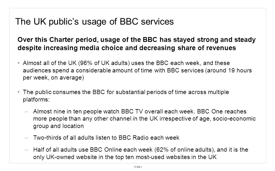 The UK public's usage of BBC services