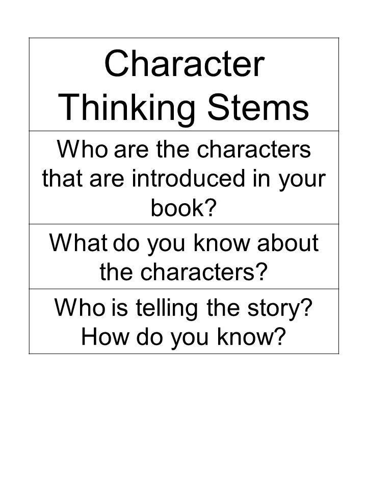 Character Thinking Stems