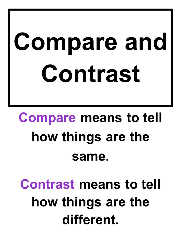 Compare and Contrast Compare means to tell how things are the same.